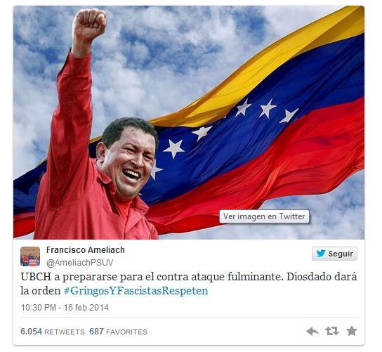 Tweet del gobernador del estado Carabobo, Francisco Ameliach.